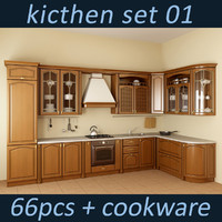 3d model kitchen oven set
