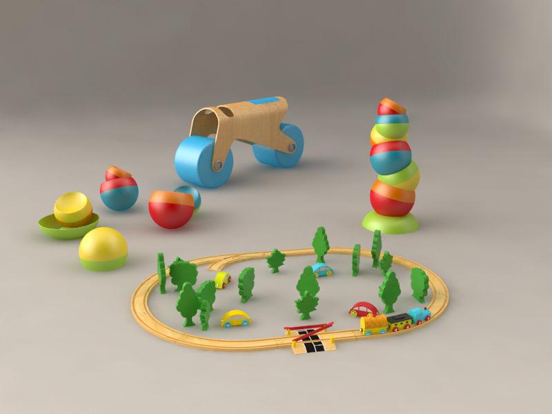 3ds max kid toy train set