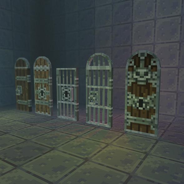 pixel door set 3d model
