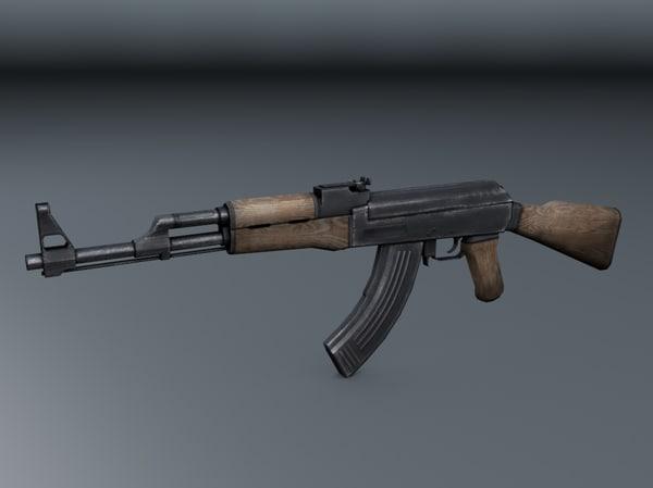 3d weapon ak-47 model