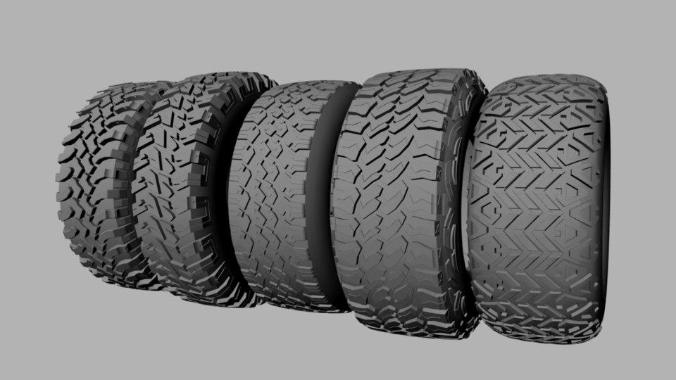 3d model tires treads