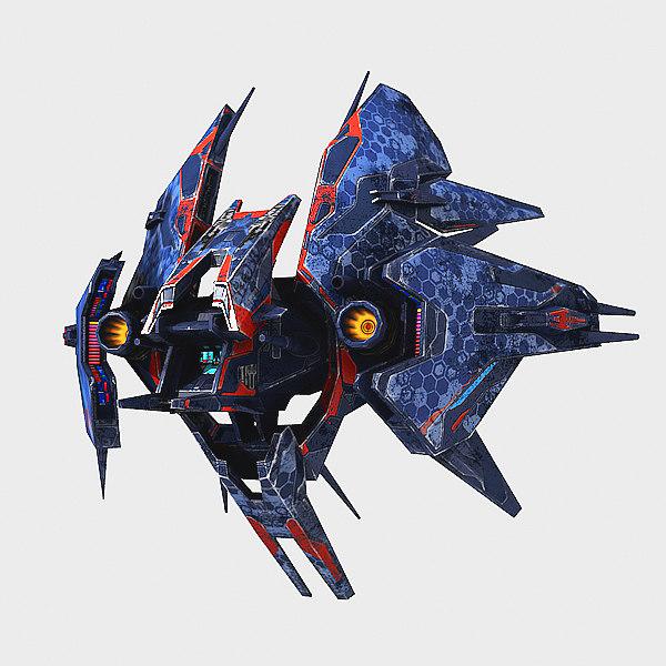 3d alien fighter polys model