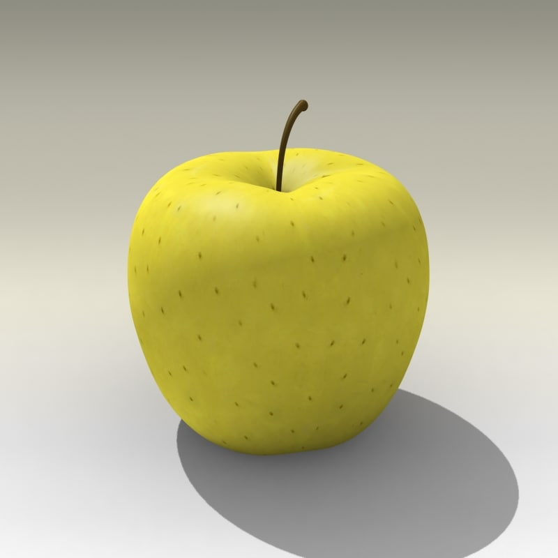 3d model photorealistic yellow apple