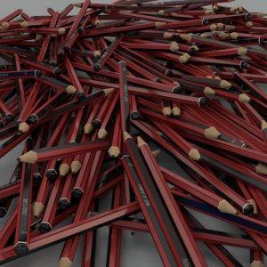 3d model grey pencil hb