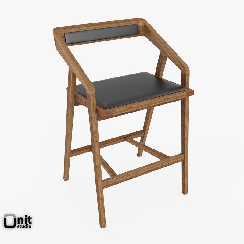 katakana bar stool dare 3d model