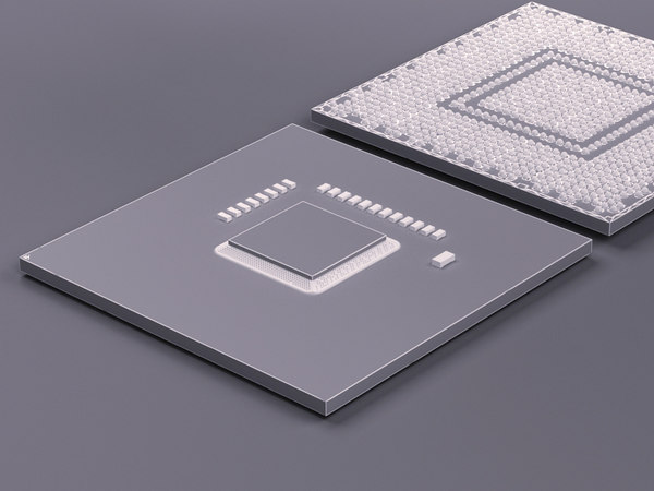 3d model of processor gpu