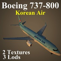 boeing 737-800 kal 3d model