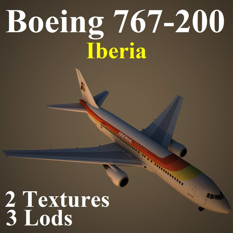 3d max boeing 767-200 ibe