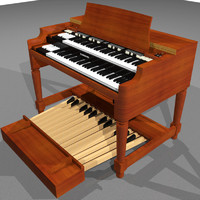 3d organ keyboard hammond model