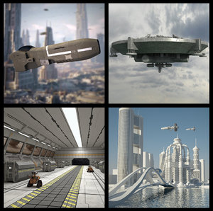 3d model scifi jet spaceship