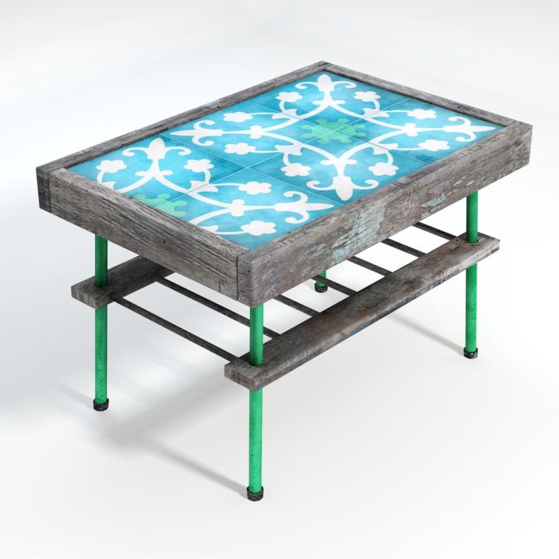 3d model tiled table