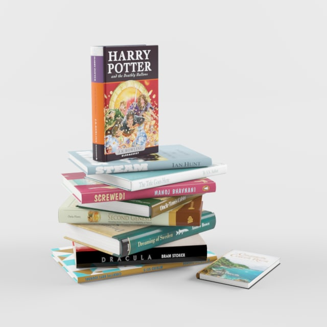 10 book 3d model