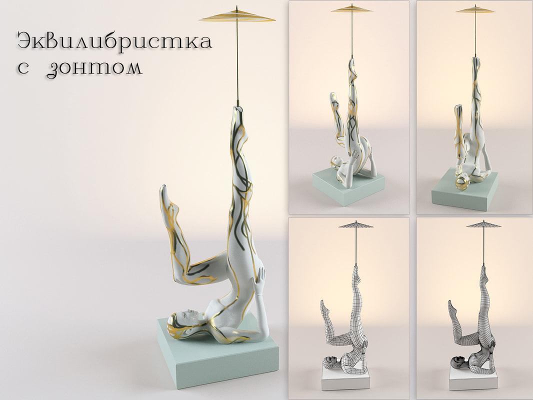 gymnast umbrella 3d model