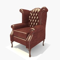1 Seater Dark Leather Scroll Chair