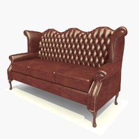 3d model 3 seater dark leather