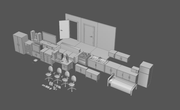 3d pack house items interior furniture model