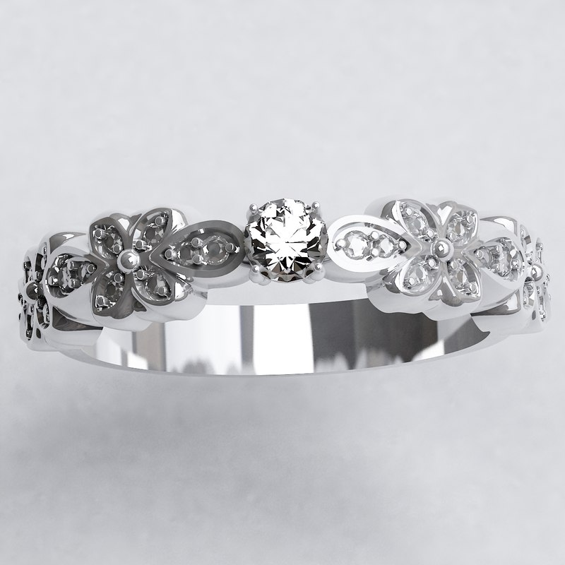 engagement ring floristically designed 3d max