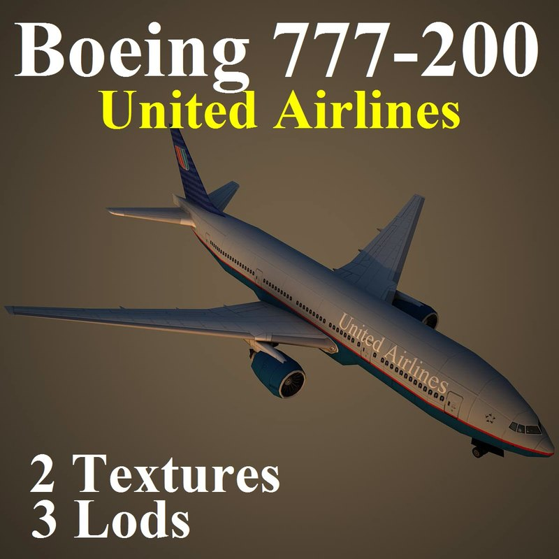 boeing 777-200 ual 3d max