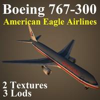 3d boeing 767-300 aal model