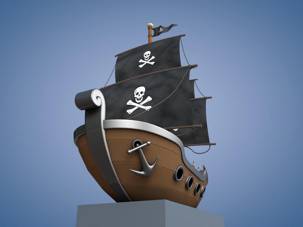c4d cartoon pirate ship