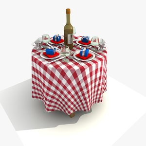 red restaurant dining table 3d model