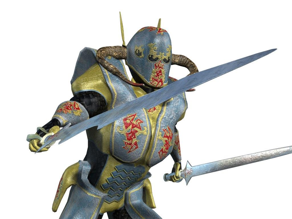 3d medieval alien knight