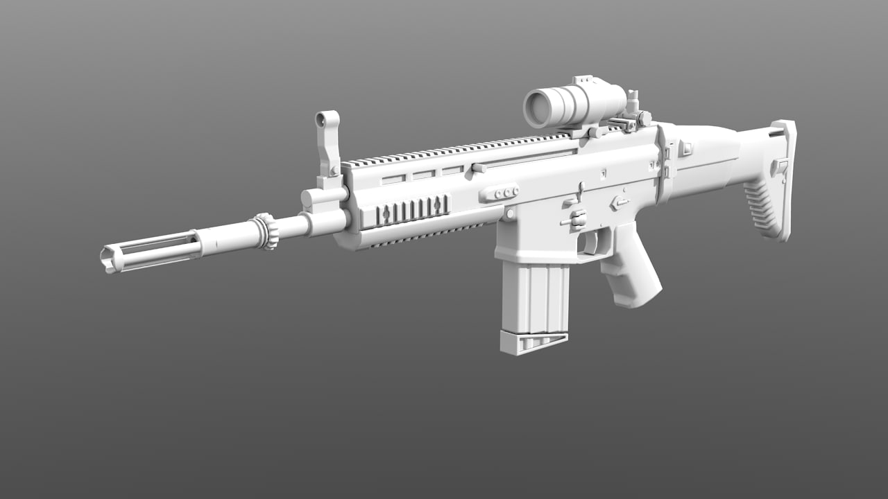 scar rifle 3d obj