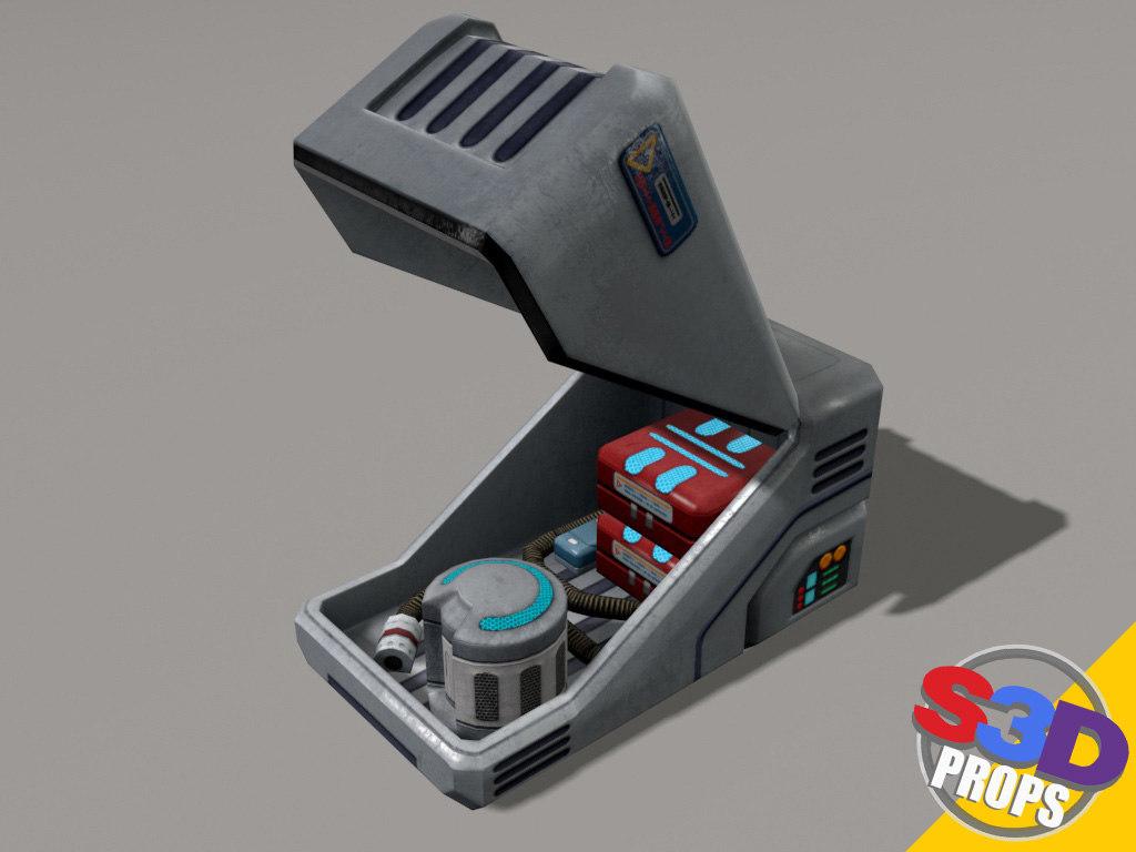3d sci-fi white crate model