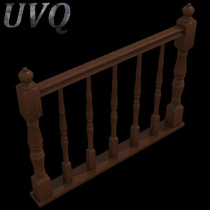 wooden baluster 3d max