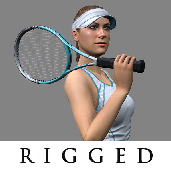 3d tennis player girl rigged model
