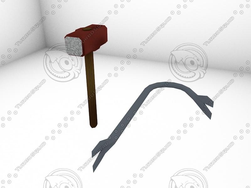 hammer prybar 3d model