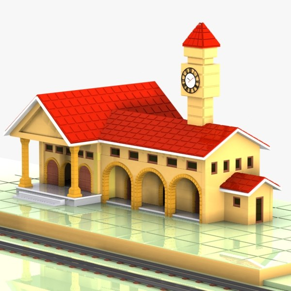 3d car train station model