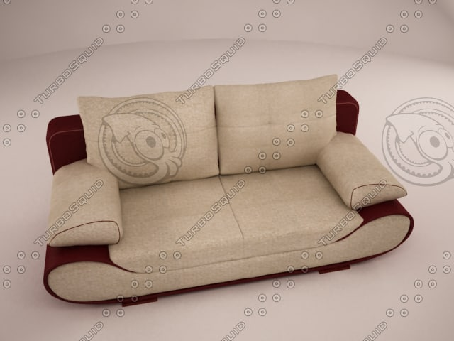 3d 3ds sofa red
