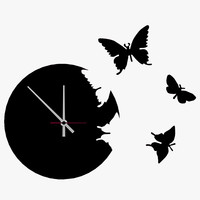 3d wall clock butterflies