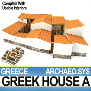 3d ancient greek house interiors model