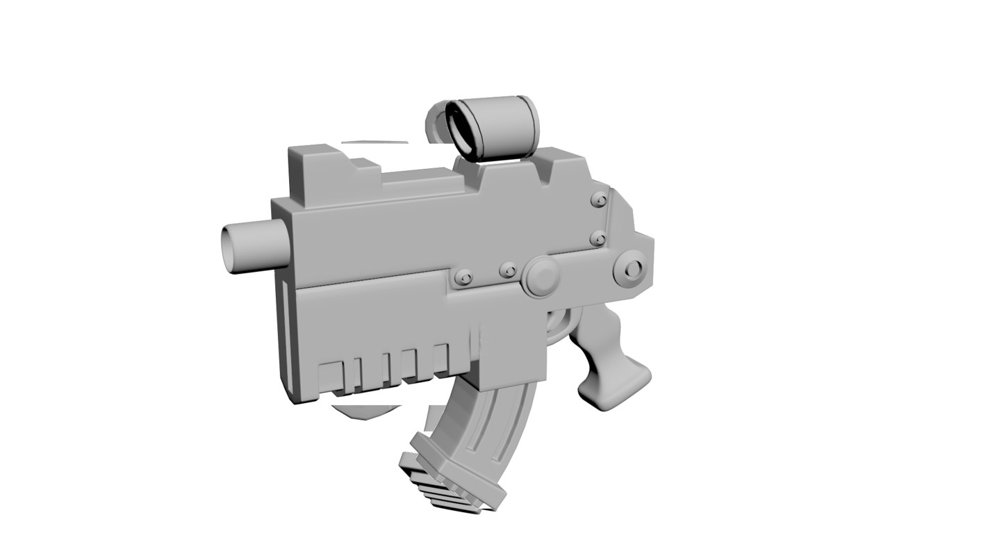 3d model gun hi-poly bolter
