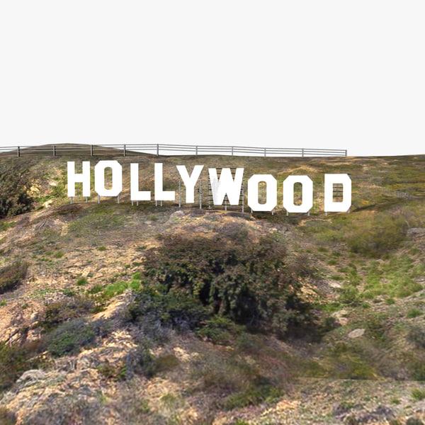 3d model hollywood hill mount sign