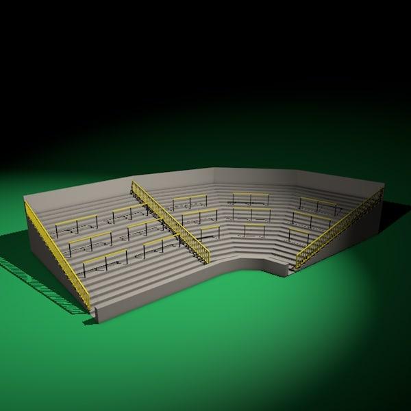 standing soccer stadium terrace 3d model
