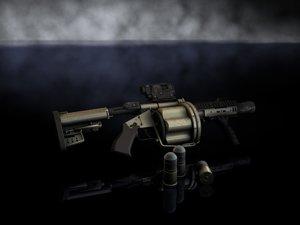 mgl multiple grenade launcher 3d model