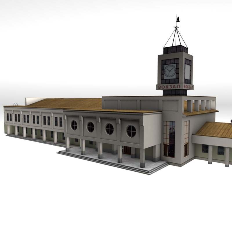 train station kostroma ready 3d model