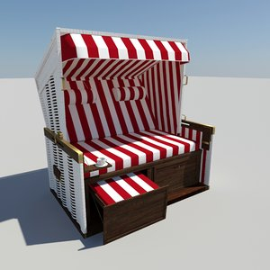 roofed beach chair 3d model