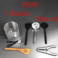 3d kitchen utensils