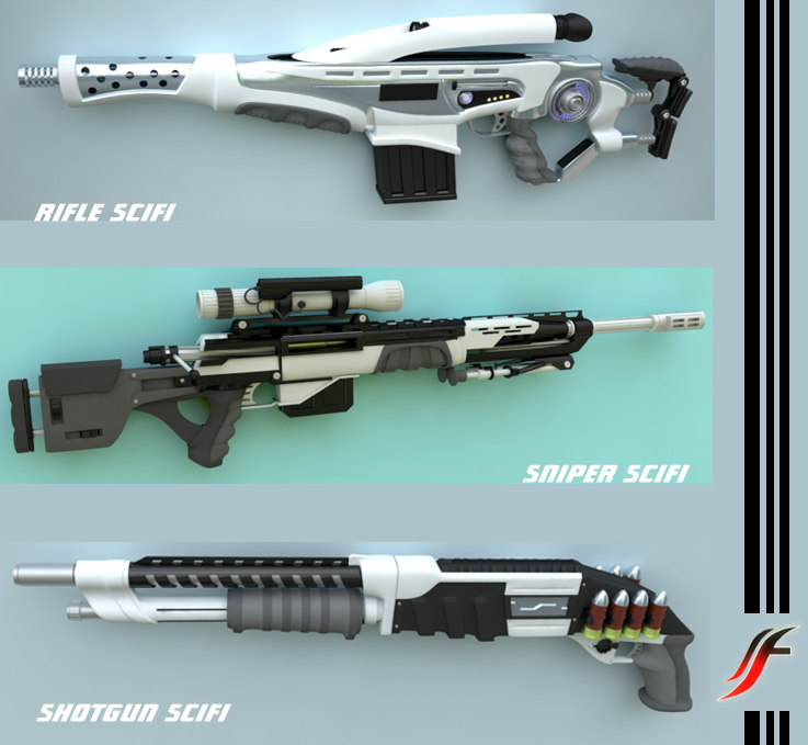 3d model of weapons sci fi rifle