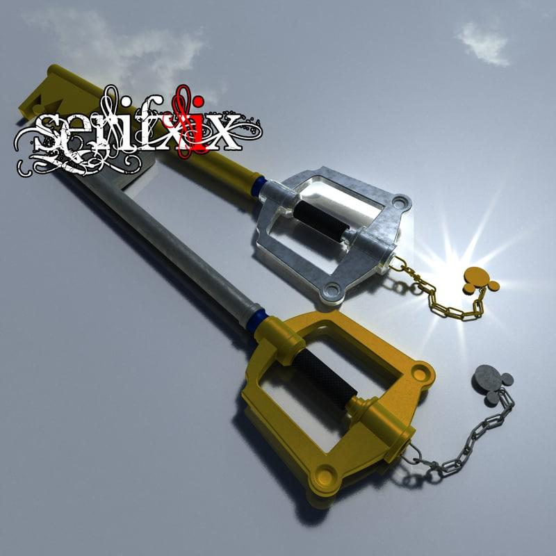 3d model of modelled keyblade