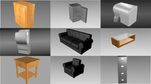 interior pack objects 9 3d obj