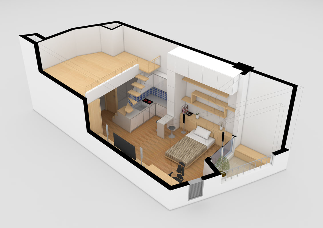 3d studio apartment model for The model apartment