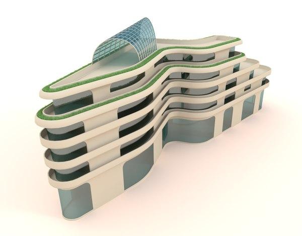 lightning shaped building structures 3d model