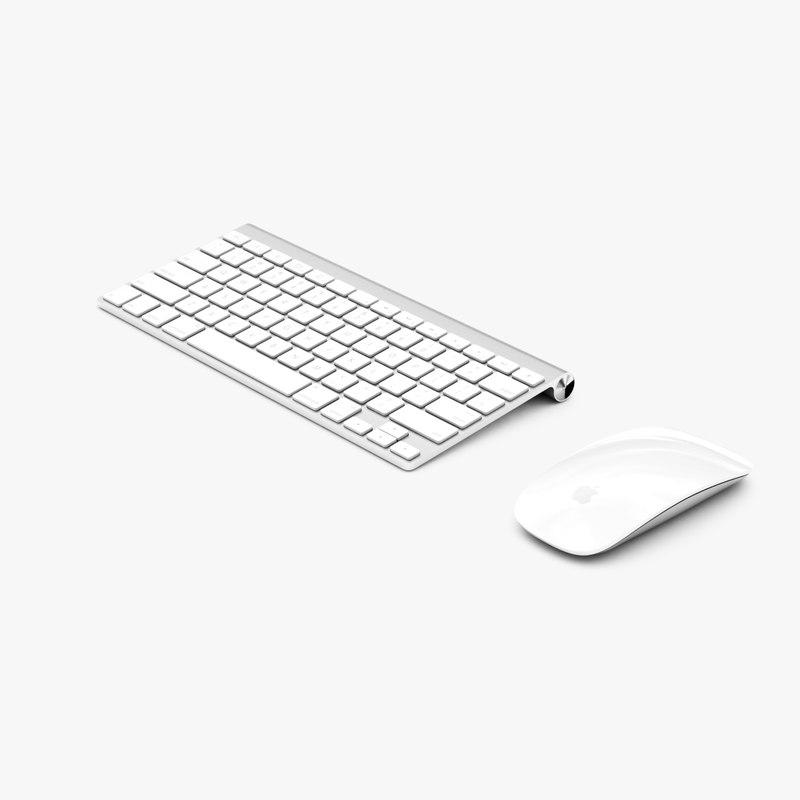 magic mouse keyboard 3d model