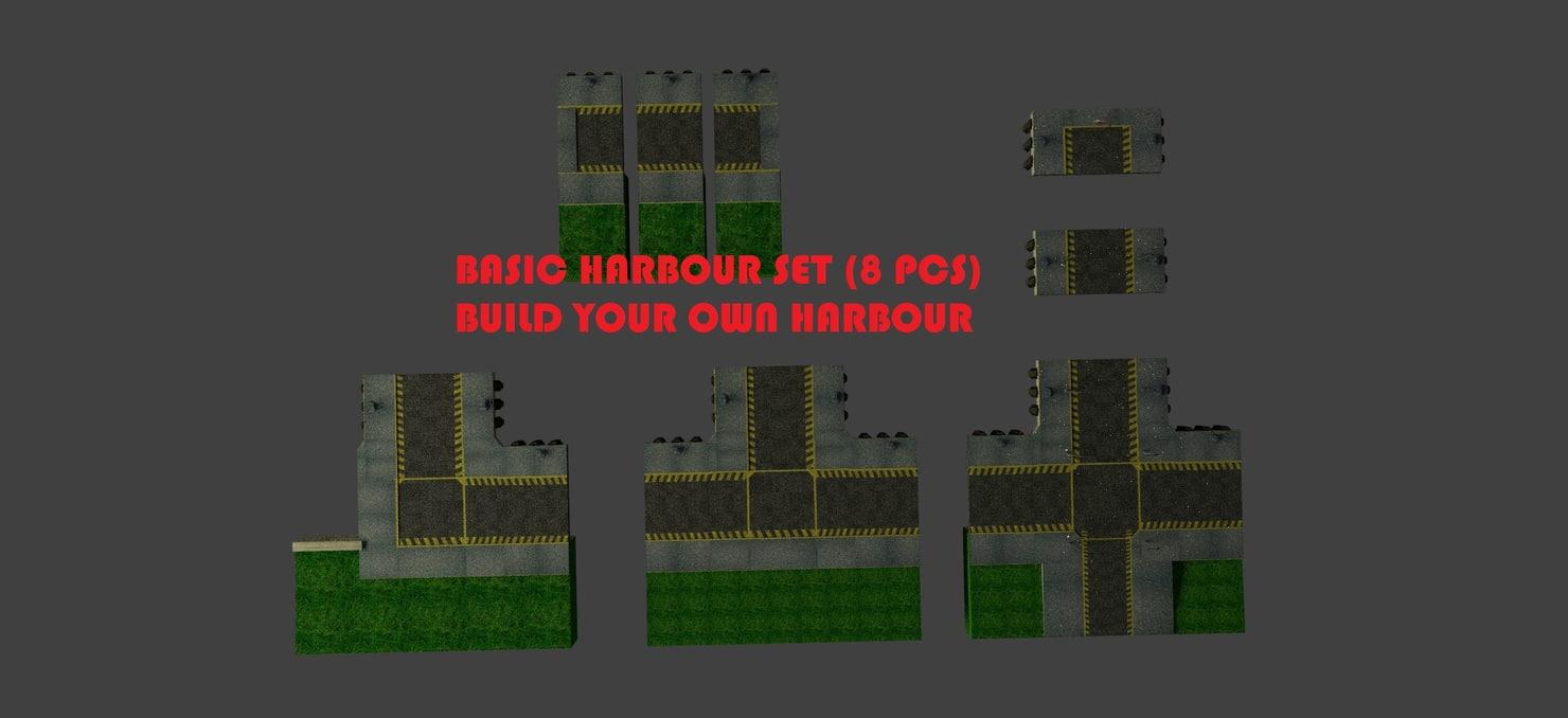 3d model basic harbour set