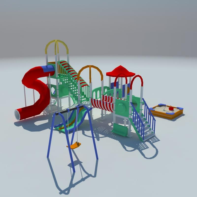 3d model of children playground sand